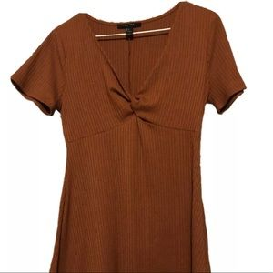 Rust Orange V-Neck Forever 21 Dress